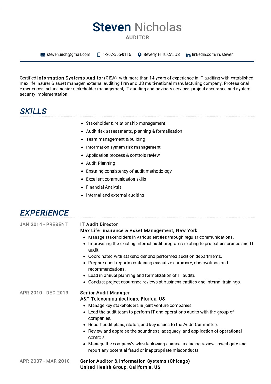 Auditor Resume Example Cv Sample Guide 2020 Resumekraft
