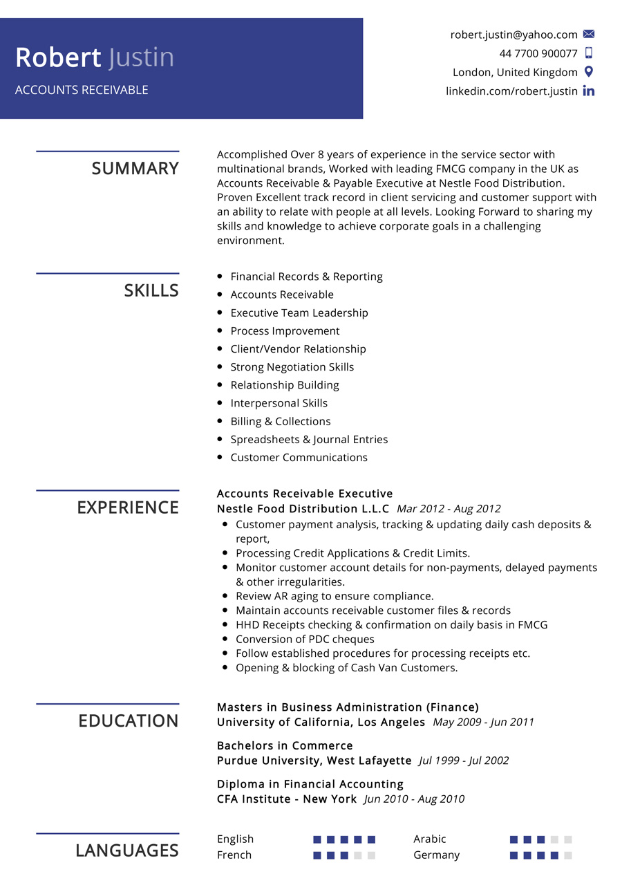 Accounts Receivable Resume Example Cv Sample 2020 Resumekraft
