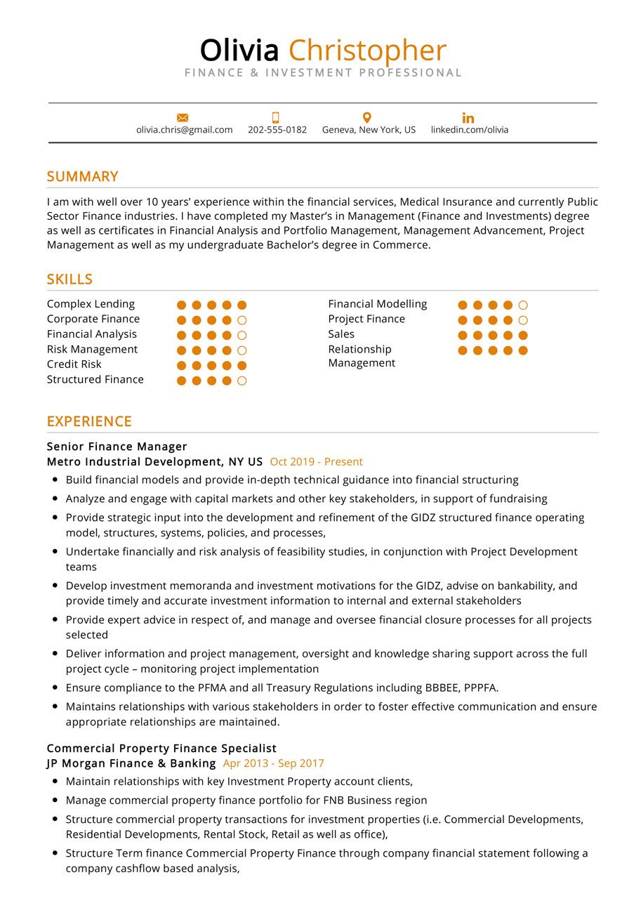 Finance Investment Resume Example Cv Sample 2020 Resumekraft