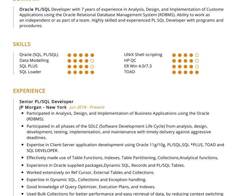 pl sql developer resume sample