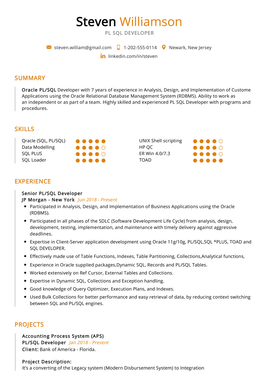 Pl Sql Developer Resume Sample Cv Sample 2020 Resumekraft
