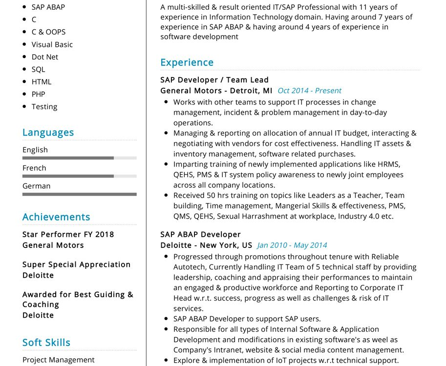 Professional Sap Resume Sample Cv Sample 2020 Resumekraft