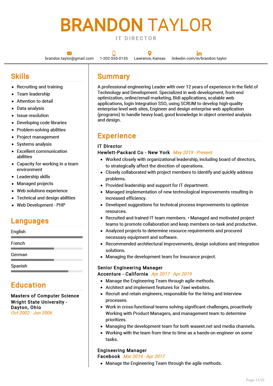 It Director Resume Example Cv Sample 2020 Resumekraft