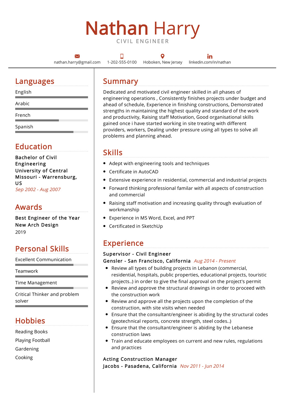 Civil Engineer Resume Example Cv Sample 2020 Resumekraft