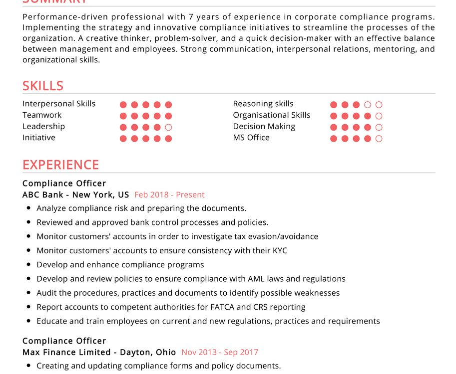 compliance officer resume example