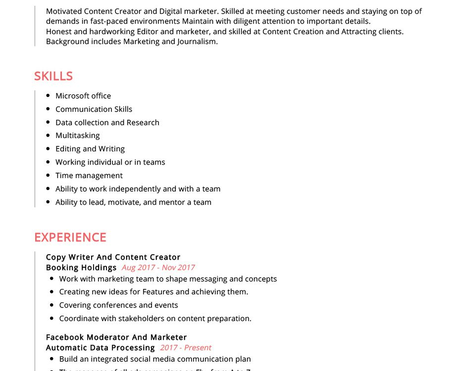 Content Creator Resume Example