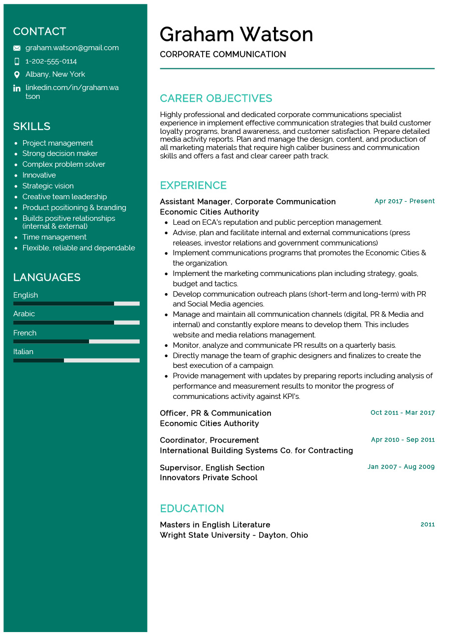 corporate communication resume example