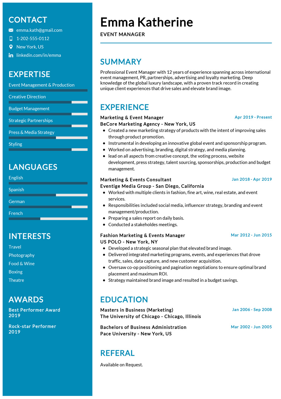Event Manager Resume Example Cv Sample 2020 Resumekraft