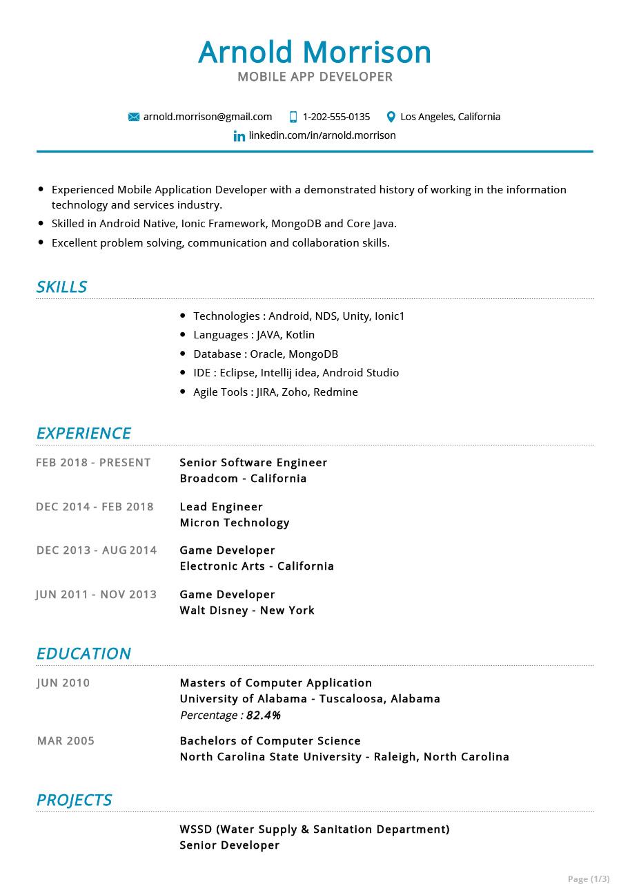 Mobile App Developer Resume Example Cv Sample 2020 Resumekraft