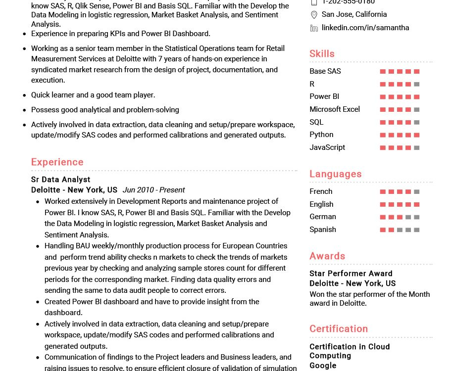 Senior Data Analyst Resume Example Cv Sample 2020 Resumekraft