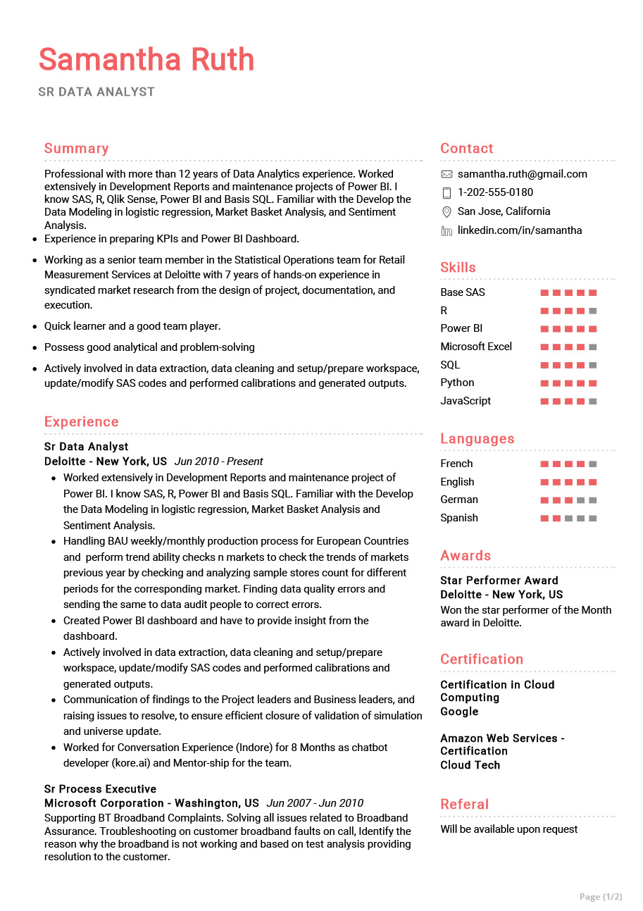 Senior Data Analyst Resume Example Cv Sample 2020 Resumekraft