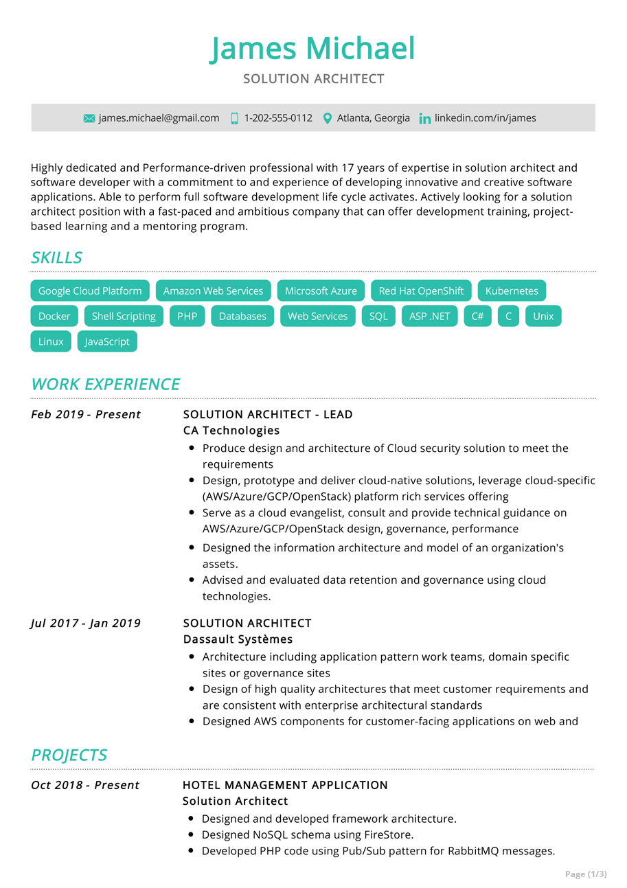 solution-architect-resume-example Example Of Performance Resume on best sample, graphic design, good job, best teacher, registered nurse, new professional, great customer service,