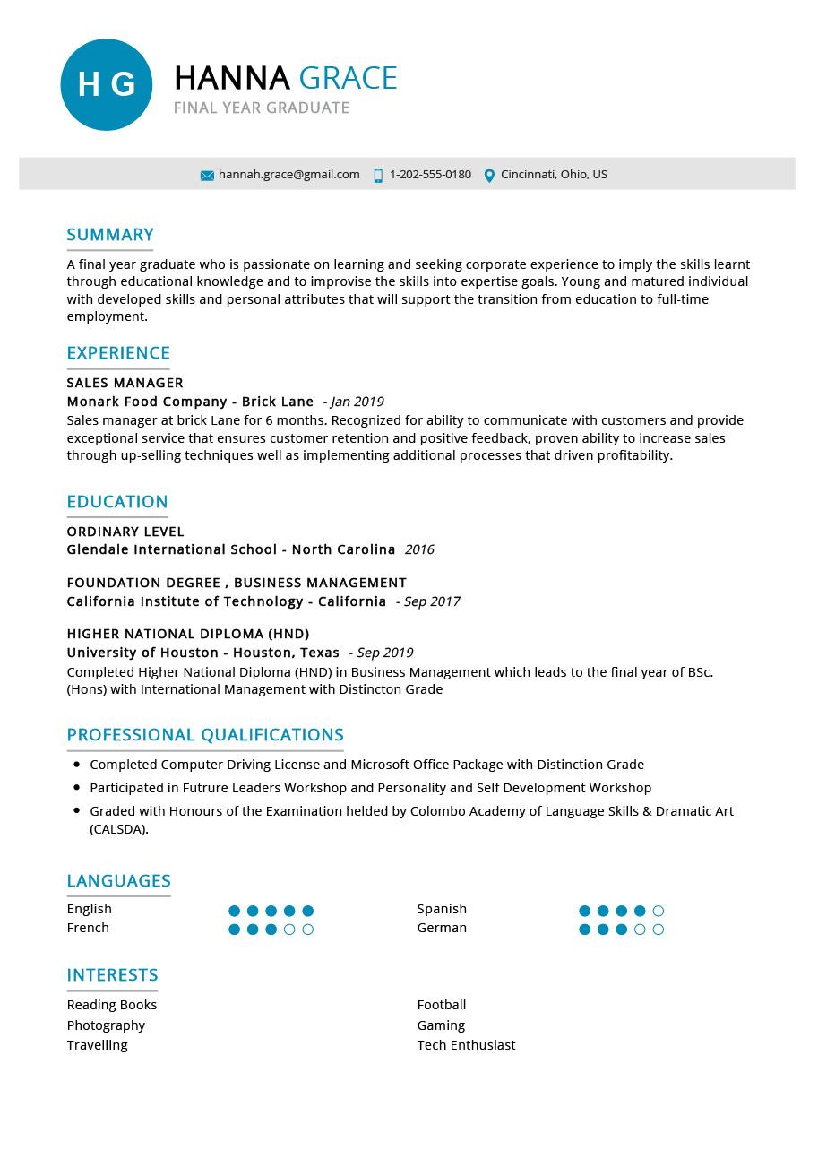 Student Resume Example | Resume Sample Guide 2020 - ResumeKraft