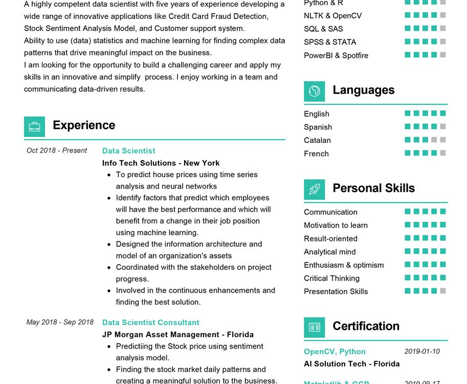 Data Scientist Resume Sample Cv Sample 2020 Resumekraft