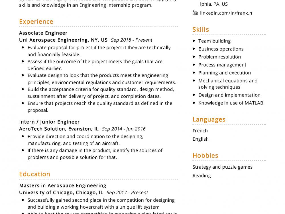 Aerospace Engineering Resume Example