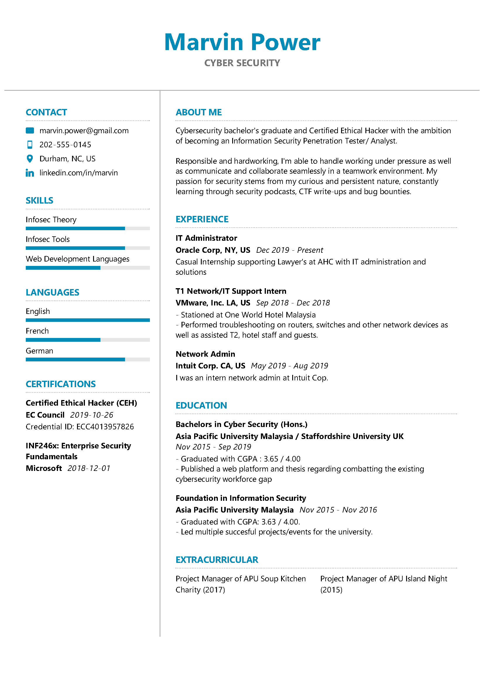 Cyber Security Resume Example Writing Tips In 2020 Resumekraft