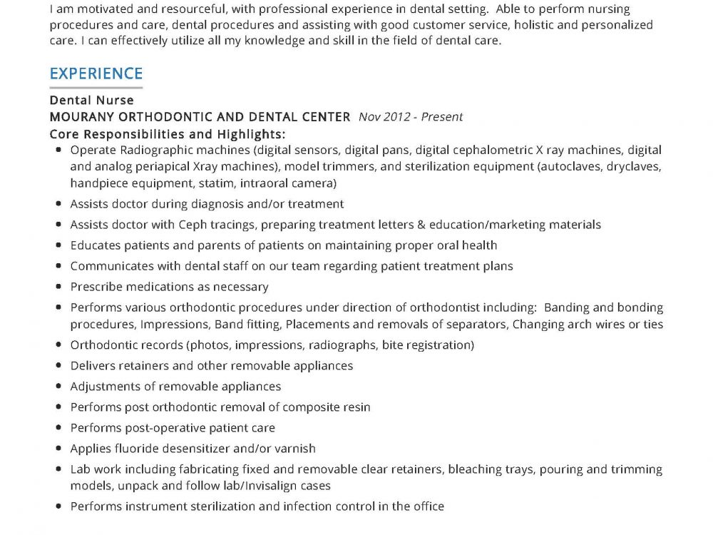 Dental Nurse Resume Example