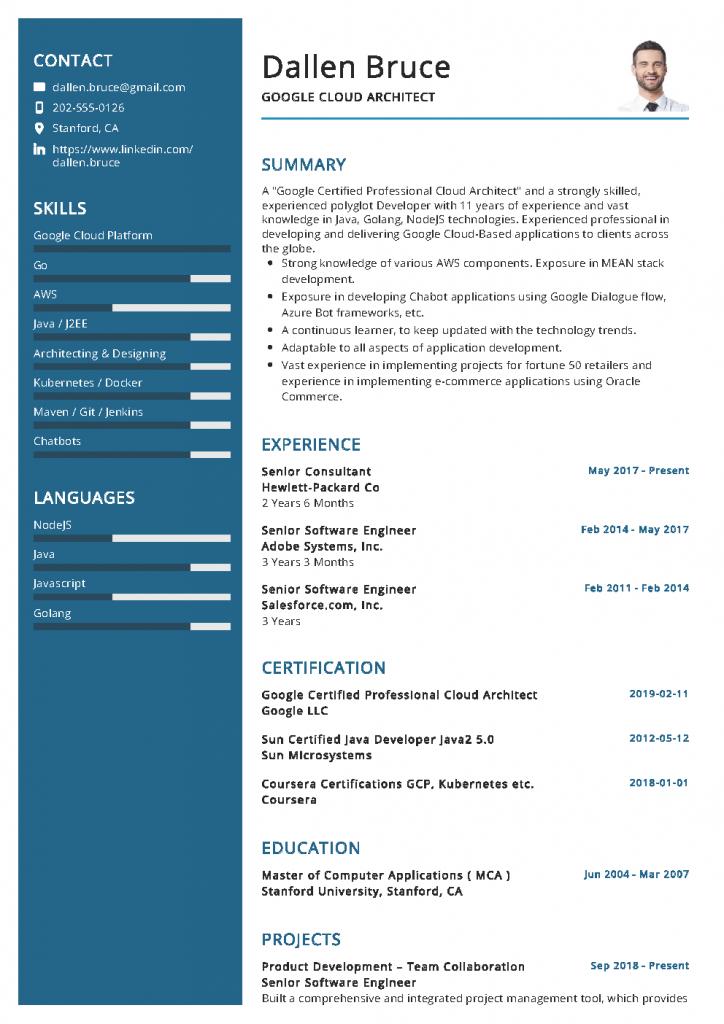 Google Cloud Architect Resume Example