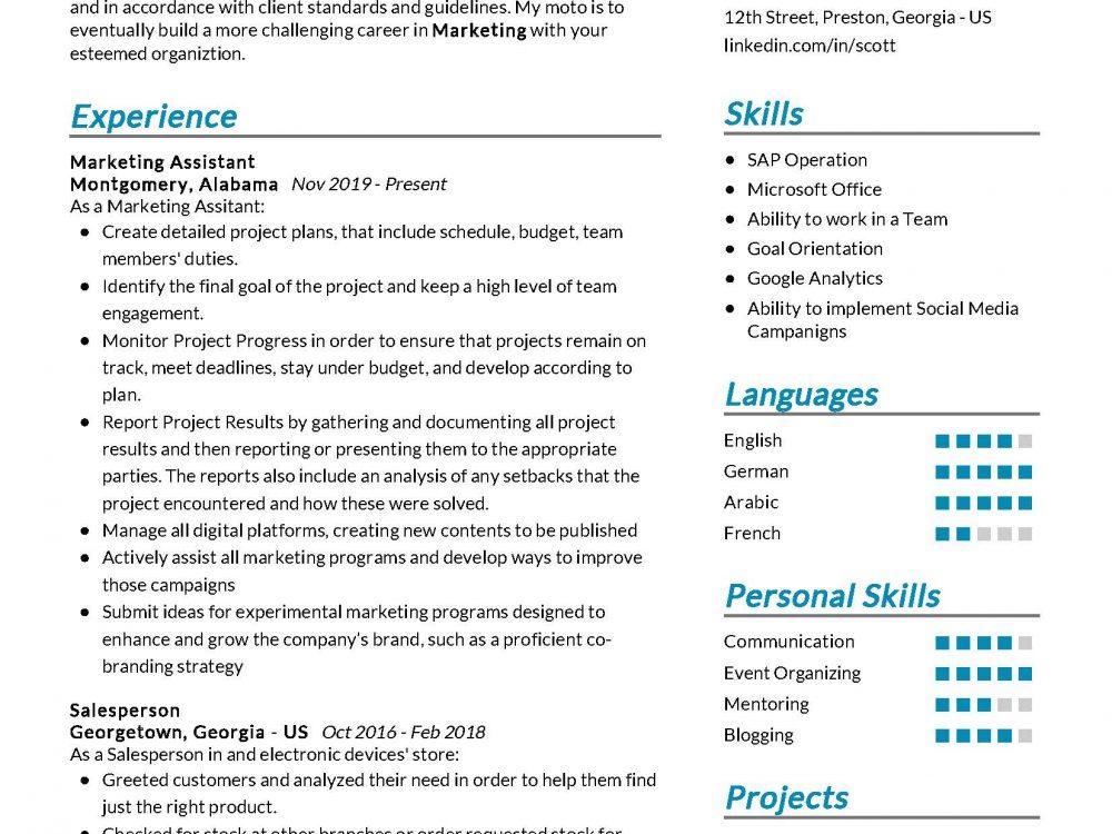Marketing Assistant Resume Sample