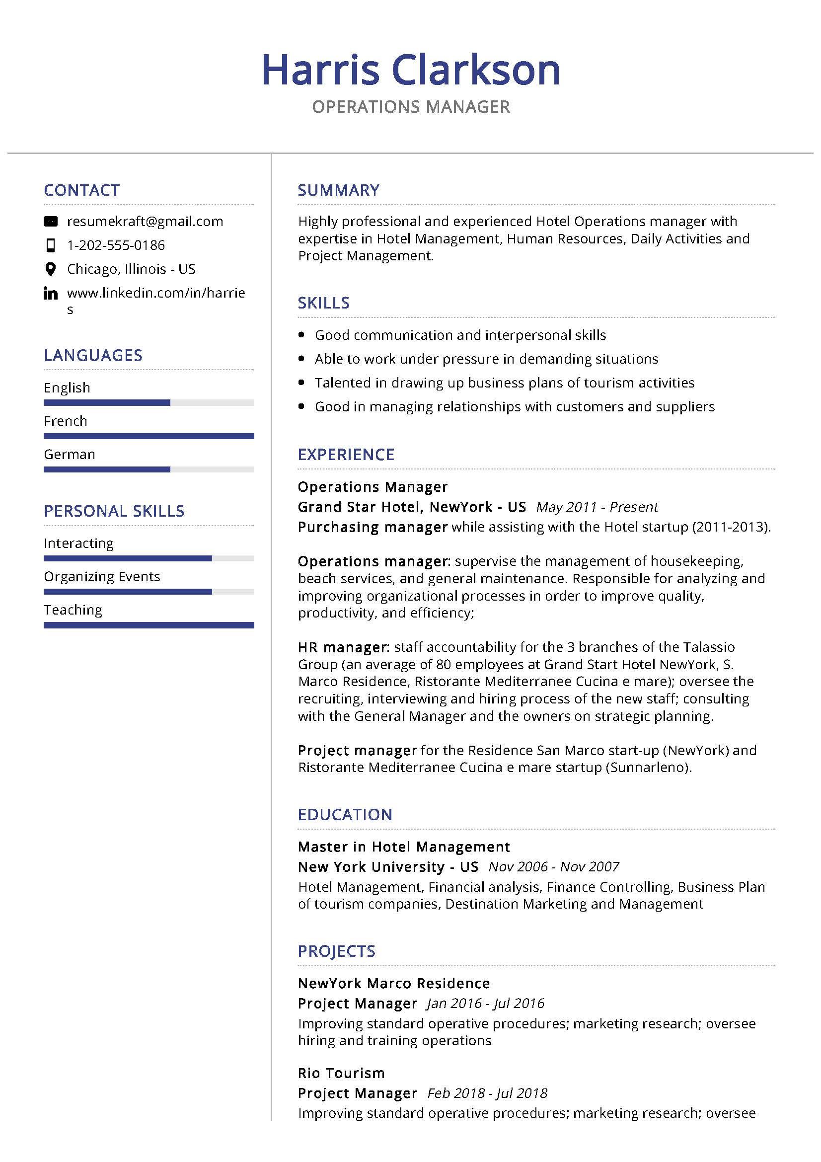 Operations Manager Resume Sample Writing Tips 2020 Resumekraft
