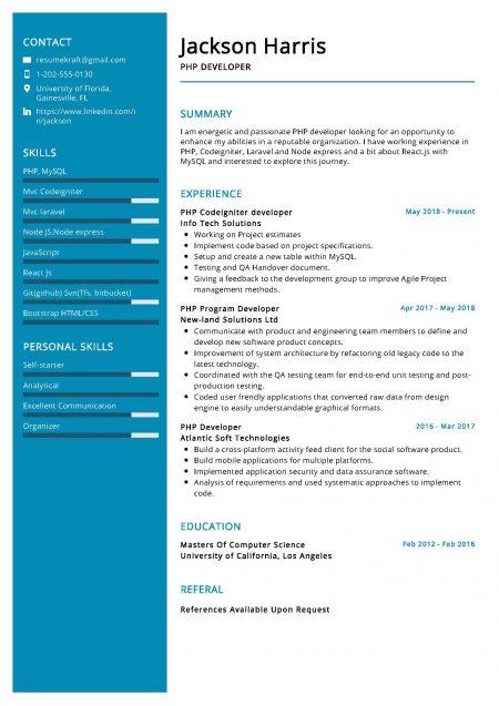 PHP Developer Resume Sample