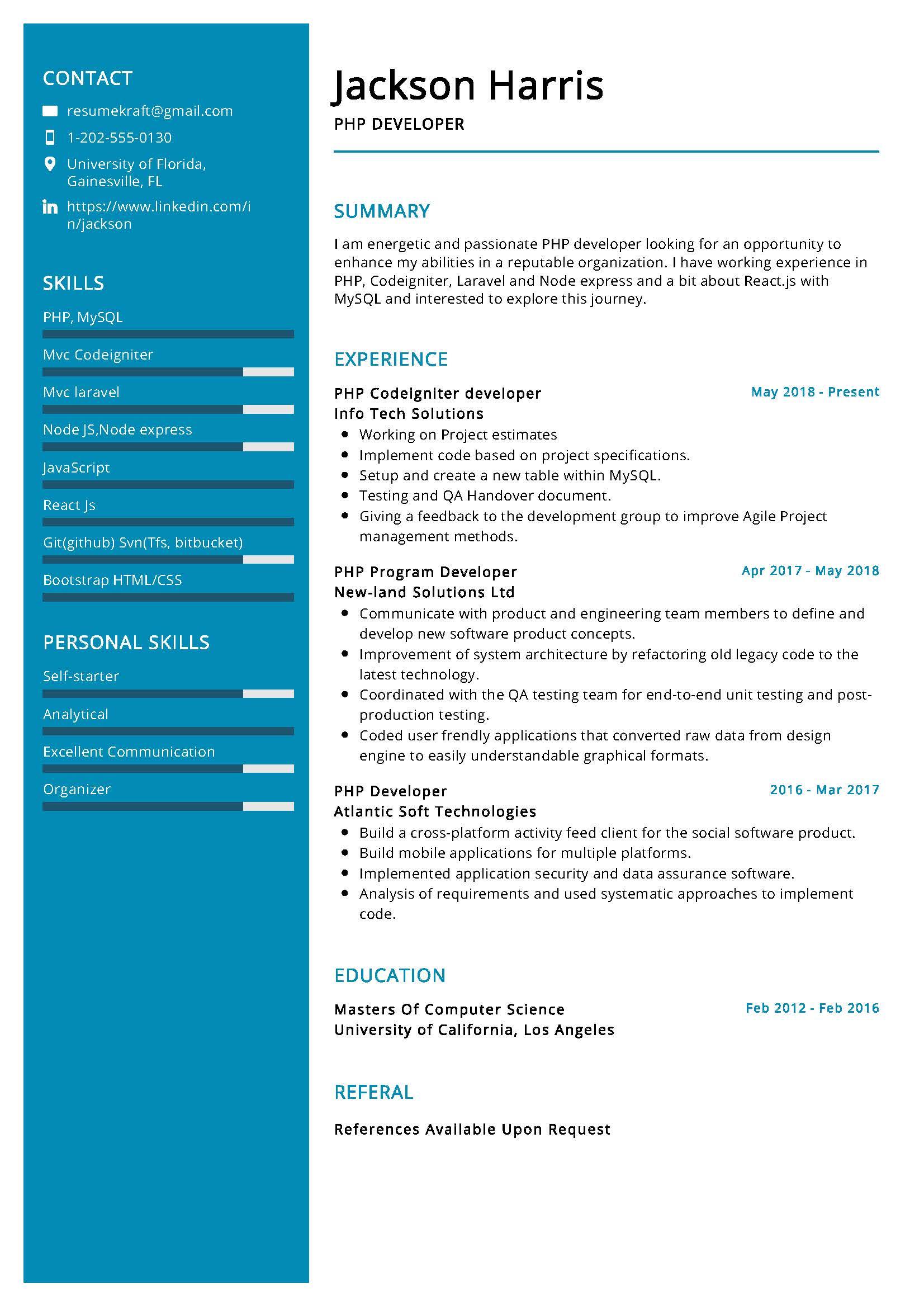 php developer resume sample  writing tips 2020  resumekraft