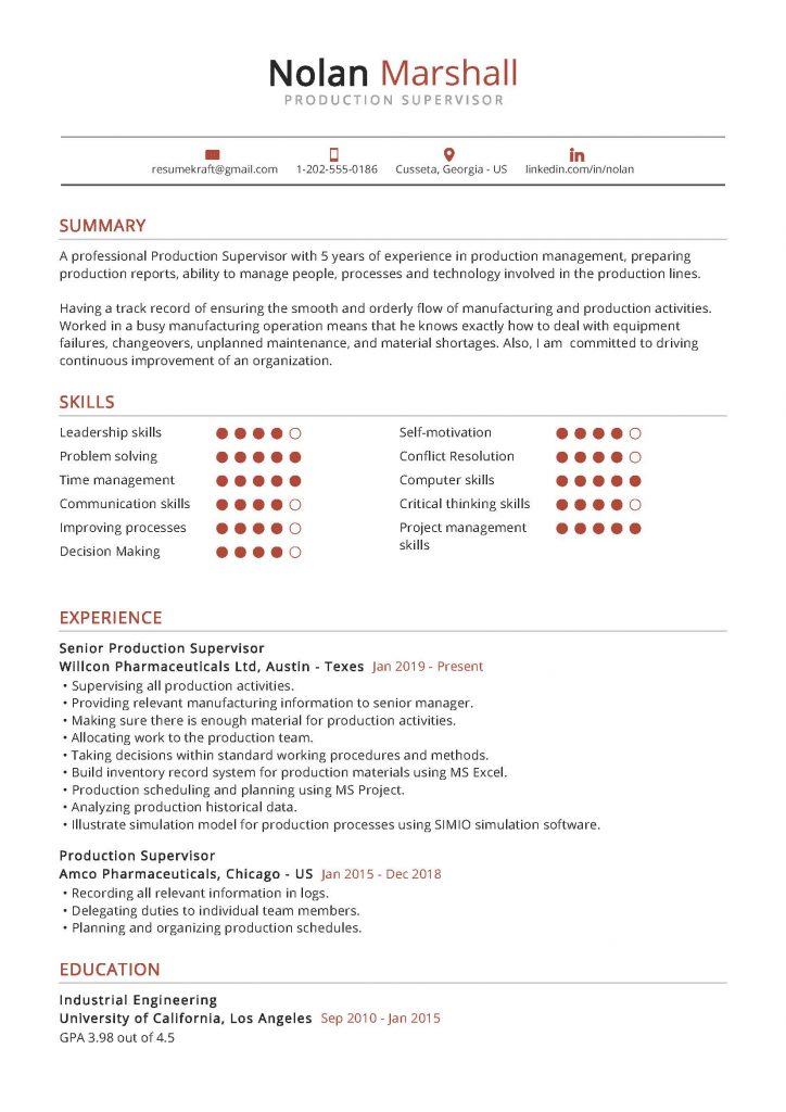 production supervisor resume example in 2020  resumekraft