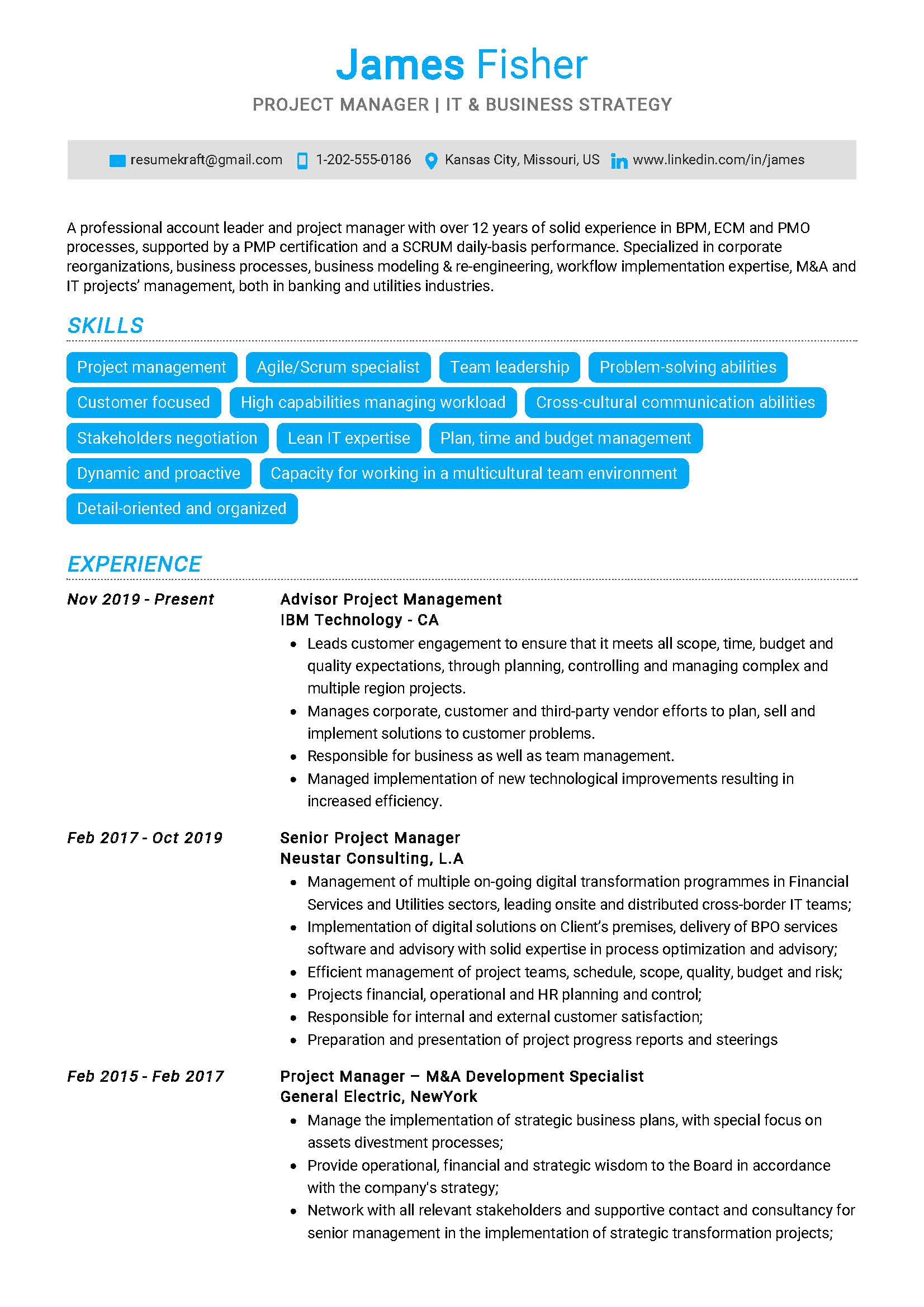 project manager resume sample  writing tips 2020