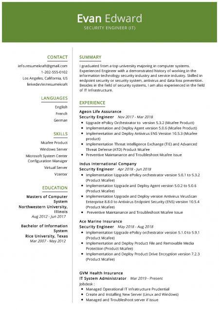 Security Engineer (IT) Resume Sample