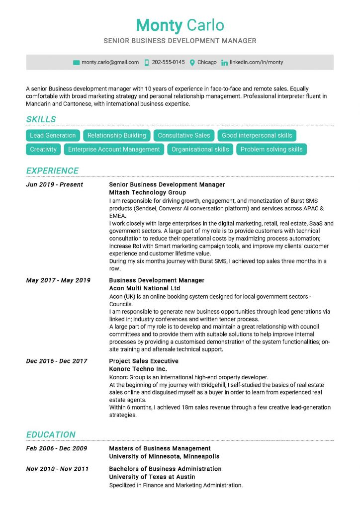 Senior Business Development Manager Resume Sample
