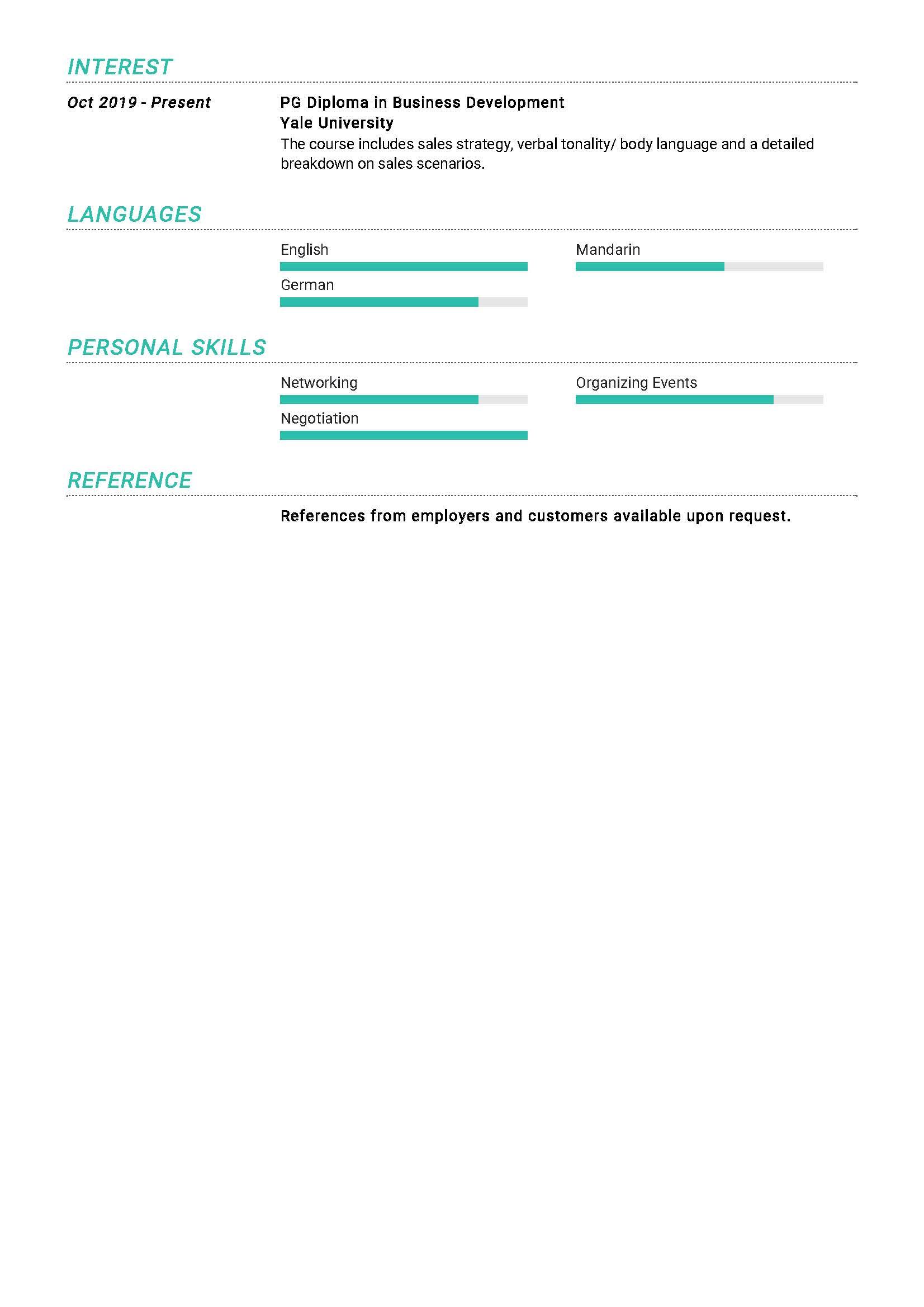 senior business development manager resume example in year