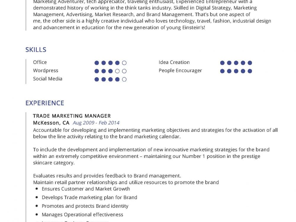 Trade Marketing Manager Resume Sample