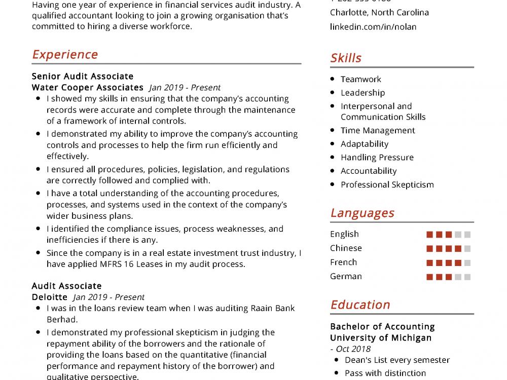 Accounting Associate Resume Sample