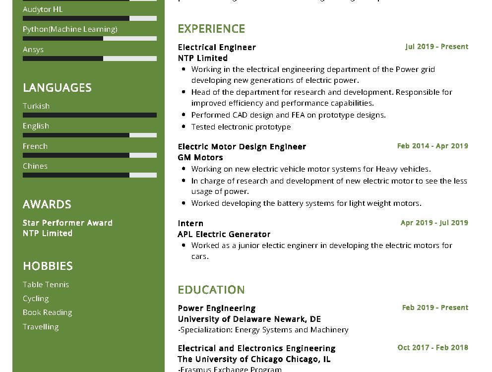 Electrical Engineer Sample