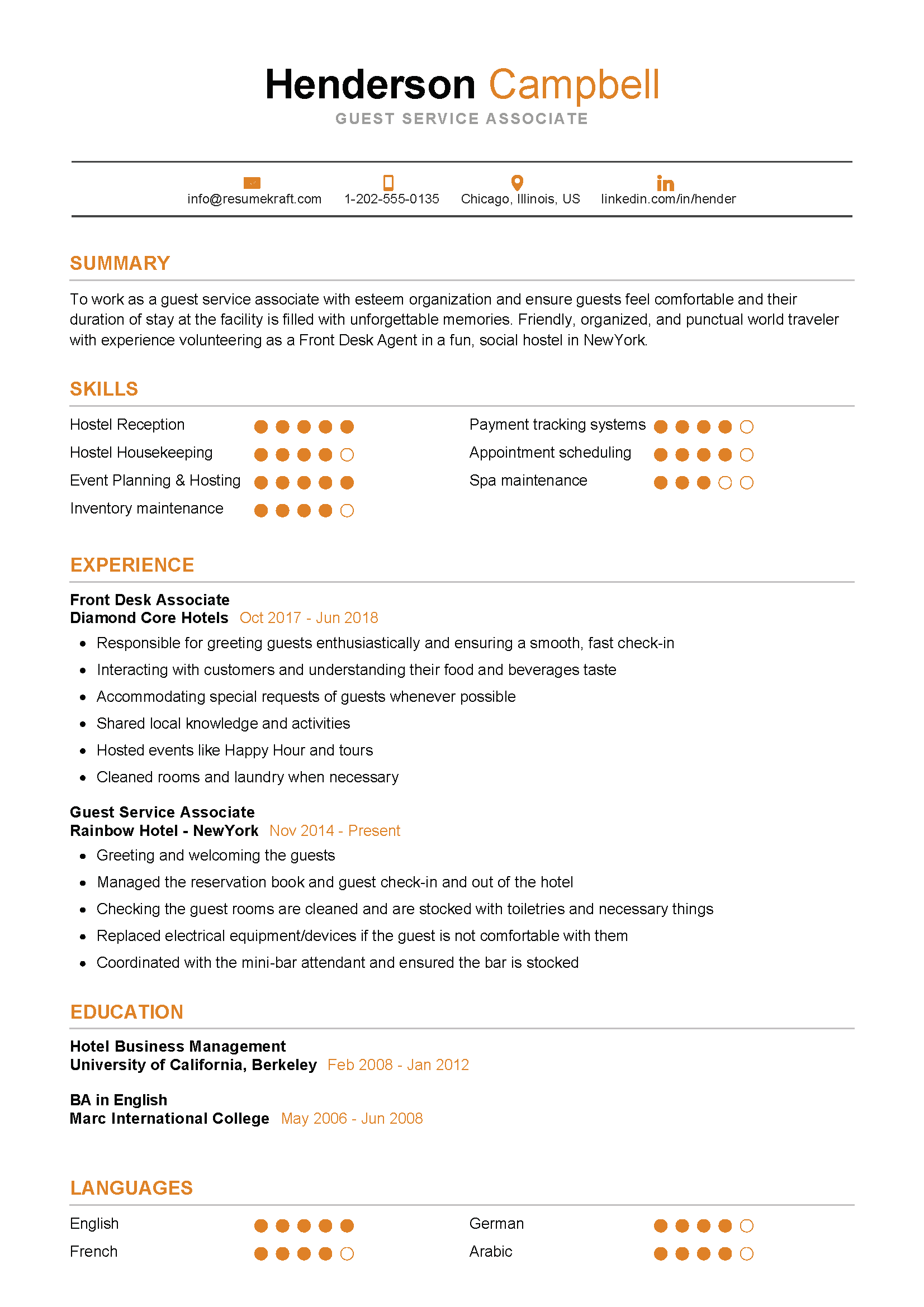 Guest Service Associate Resume