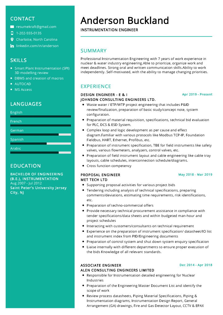 Instrumentation Engineer Resume Examples