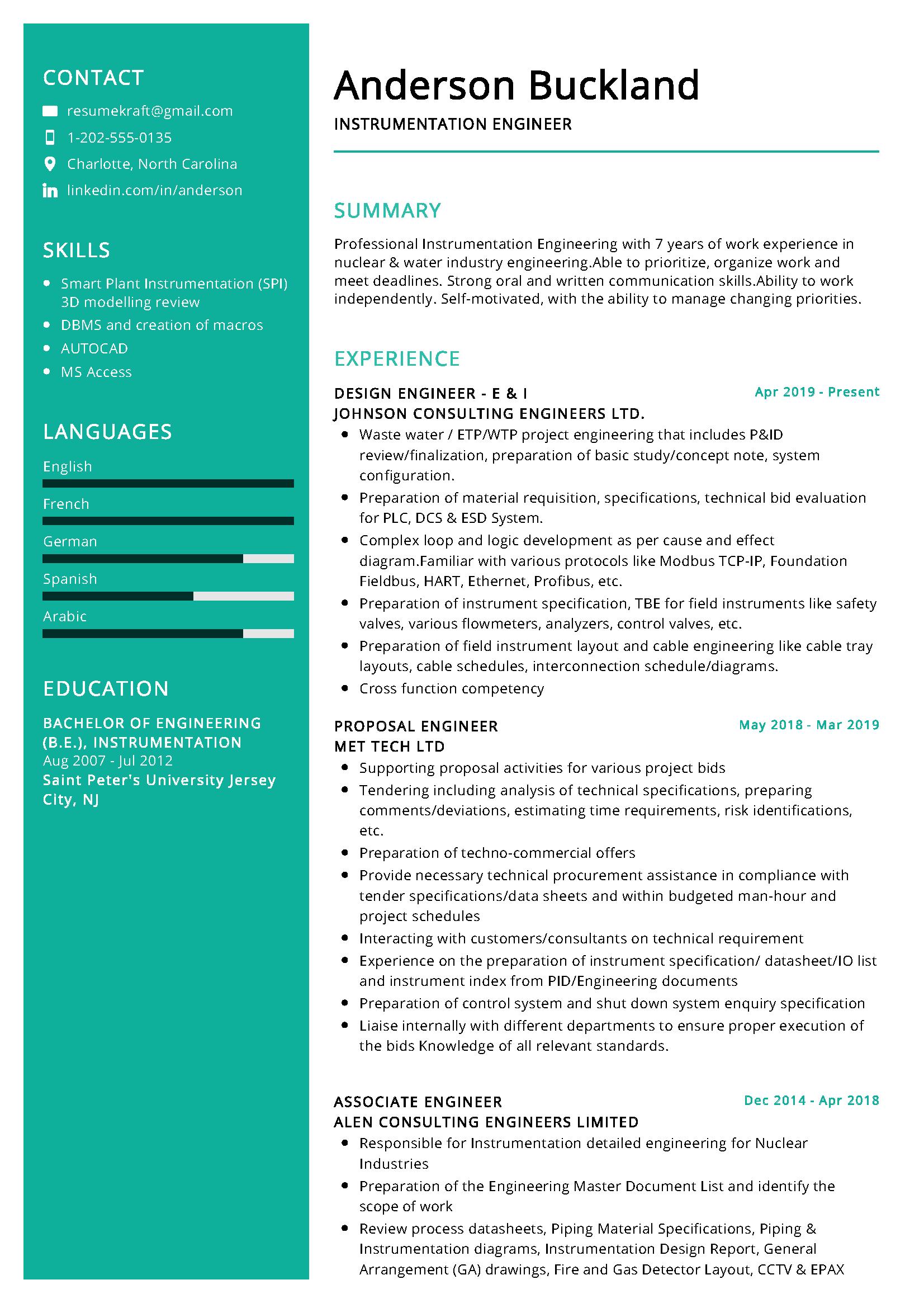 Instrumentation Engineer Resume Examples