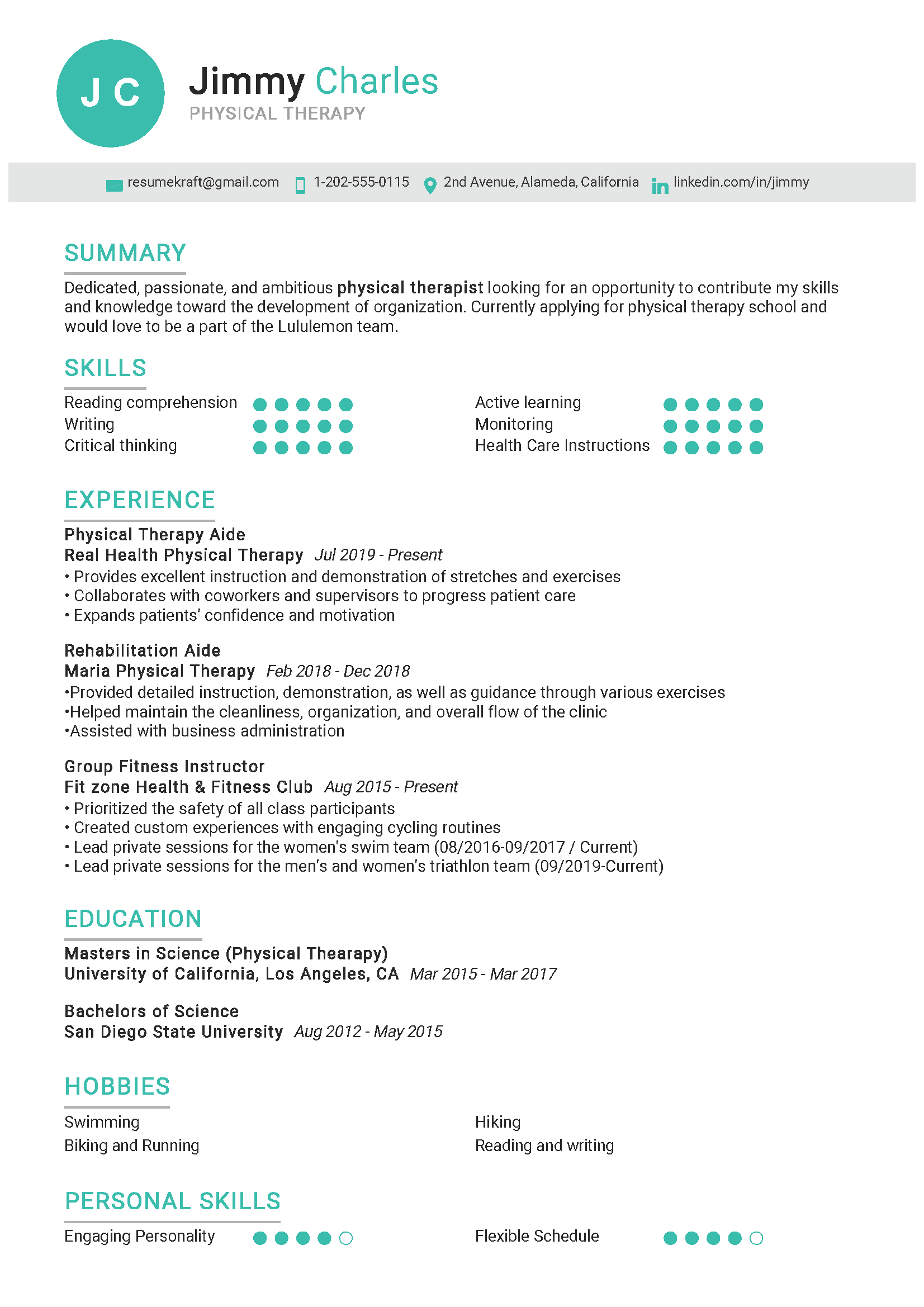 physical therapy resume sample  writing tips 2020