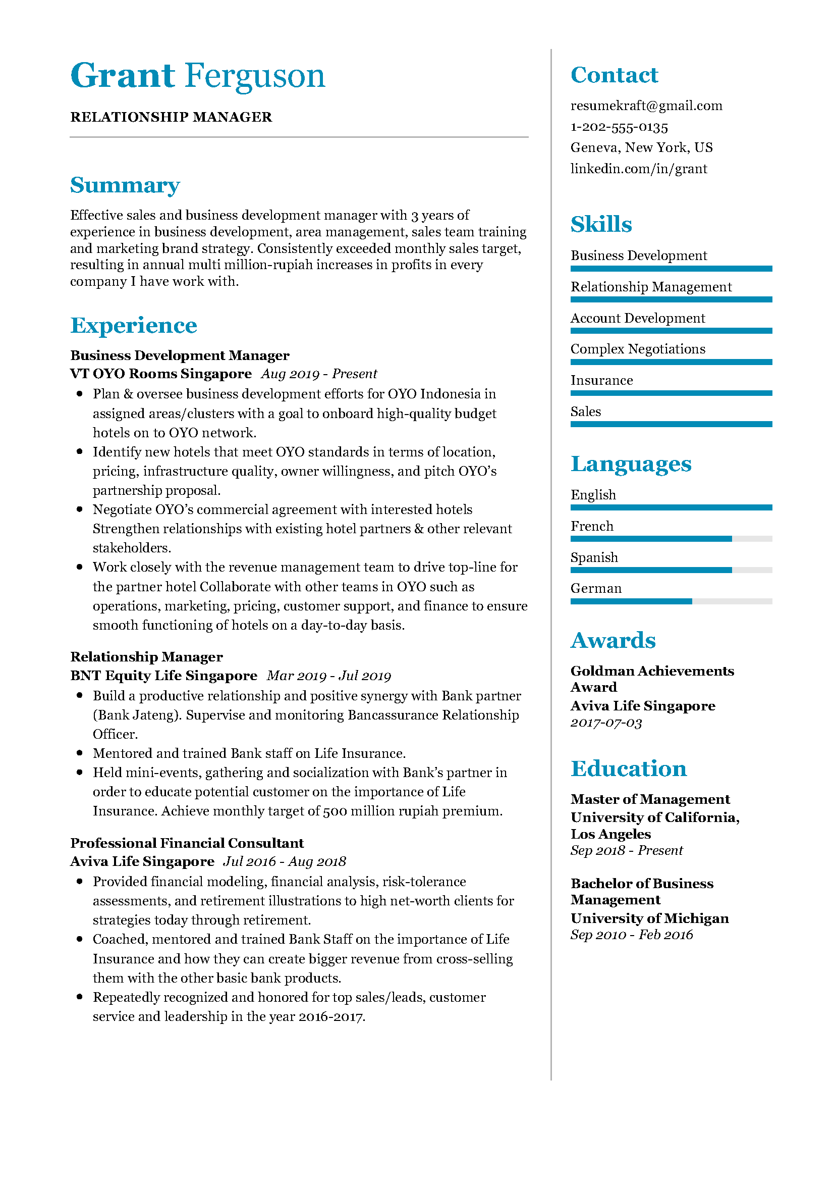 relationship manager resume sample in 2020