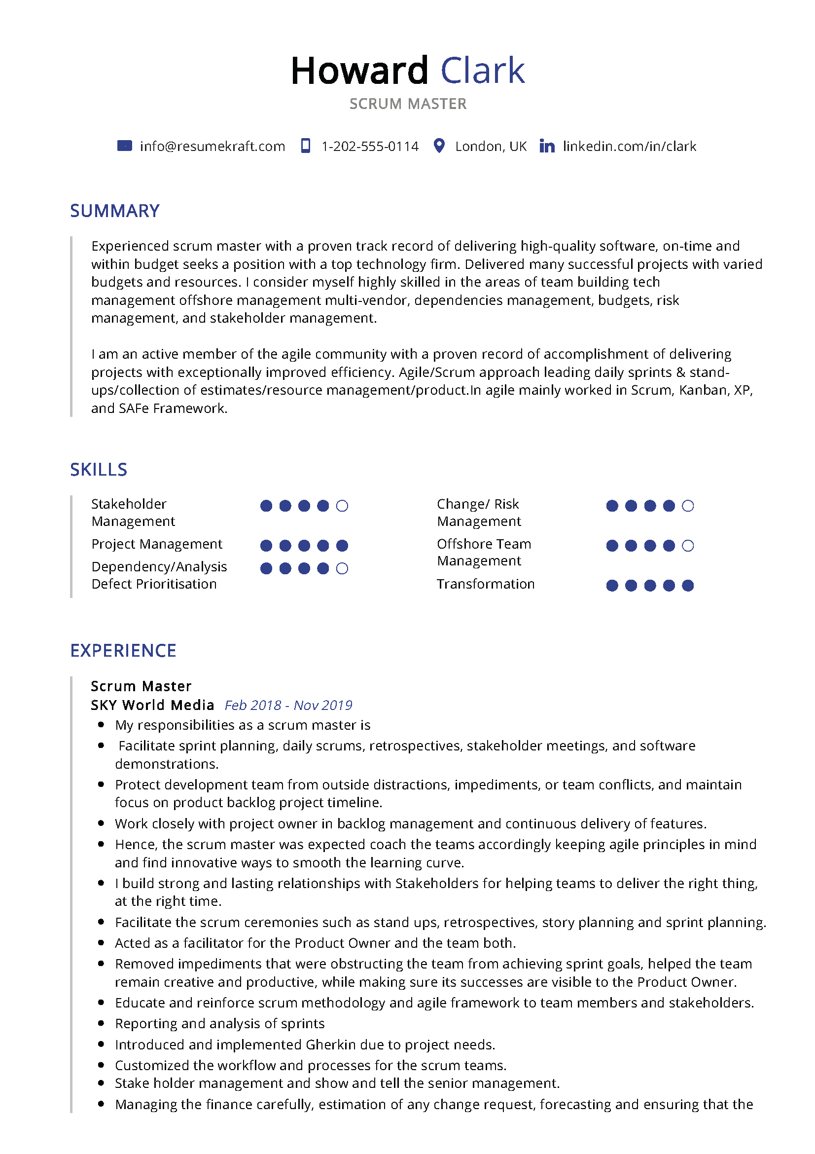 scrum master resume sample