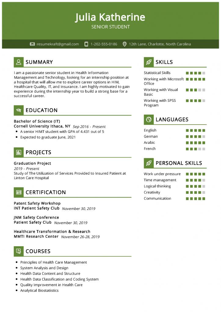 senior student resume sample