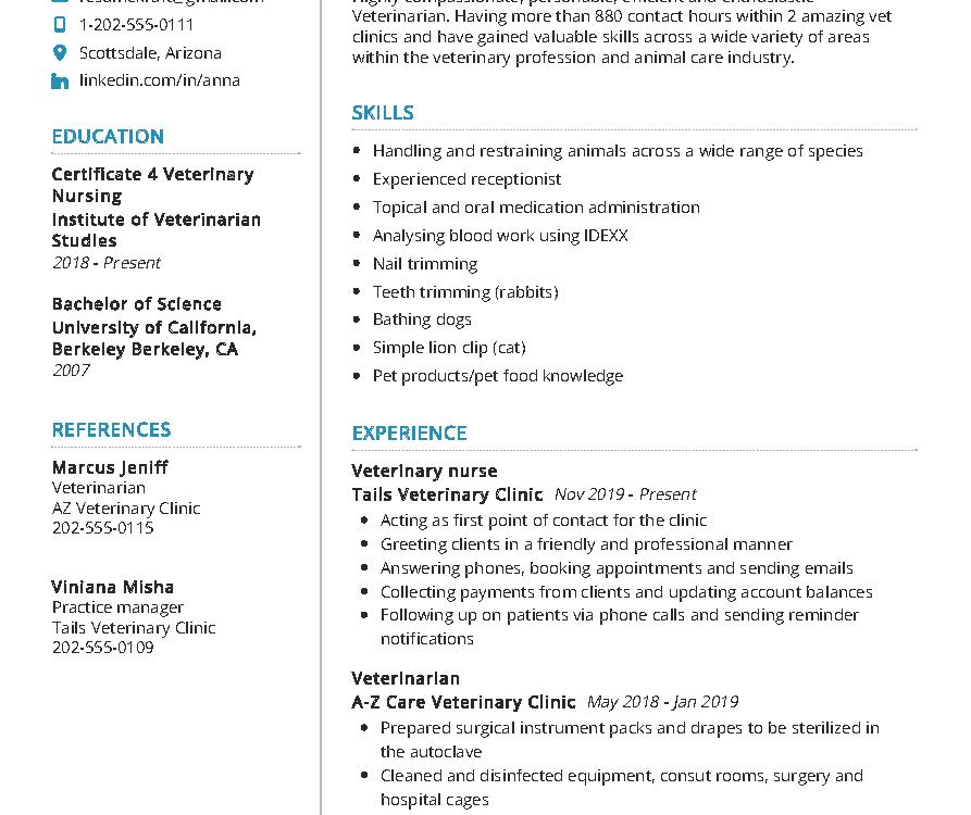 Veterinarian Resume Sample