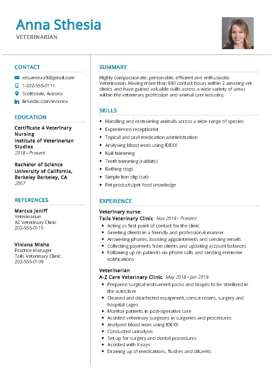 veterinarian resume sample  u0026 writing tips 2020