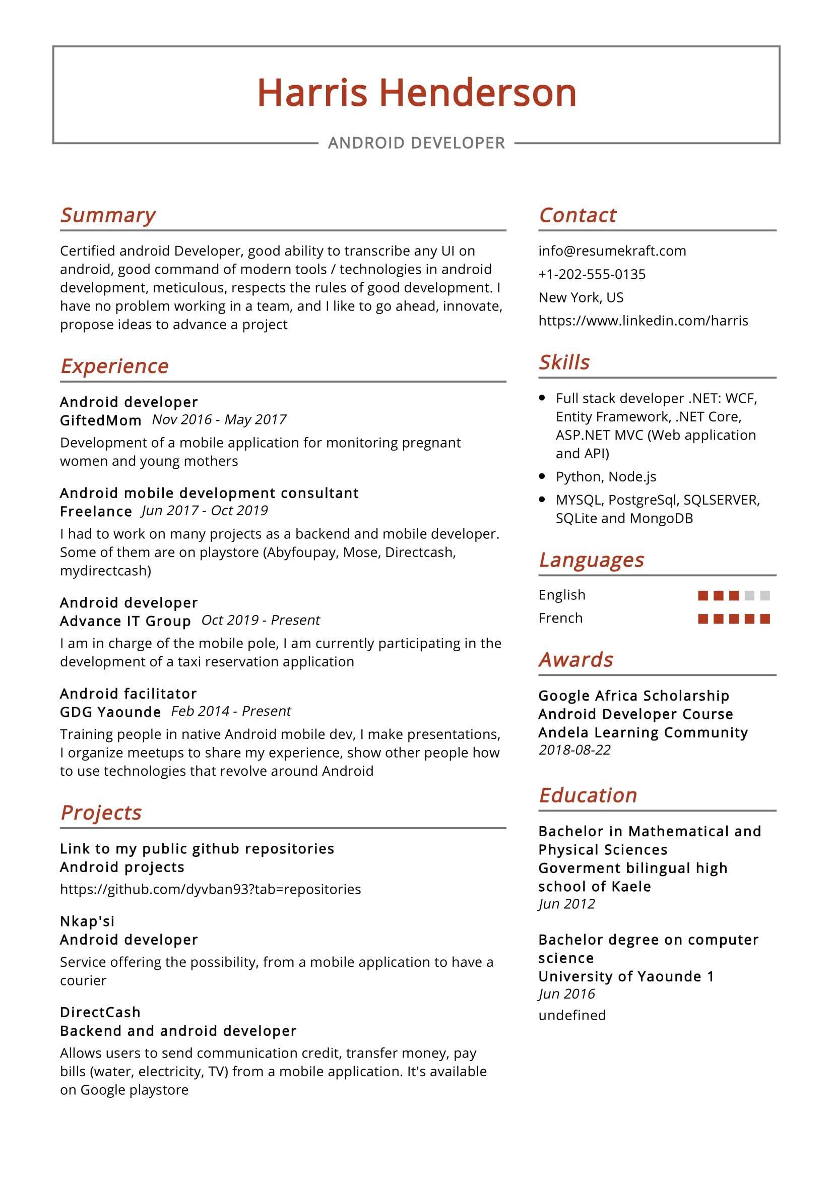 Android Developer Resume Sample - ResumeKraft