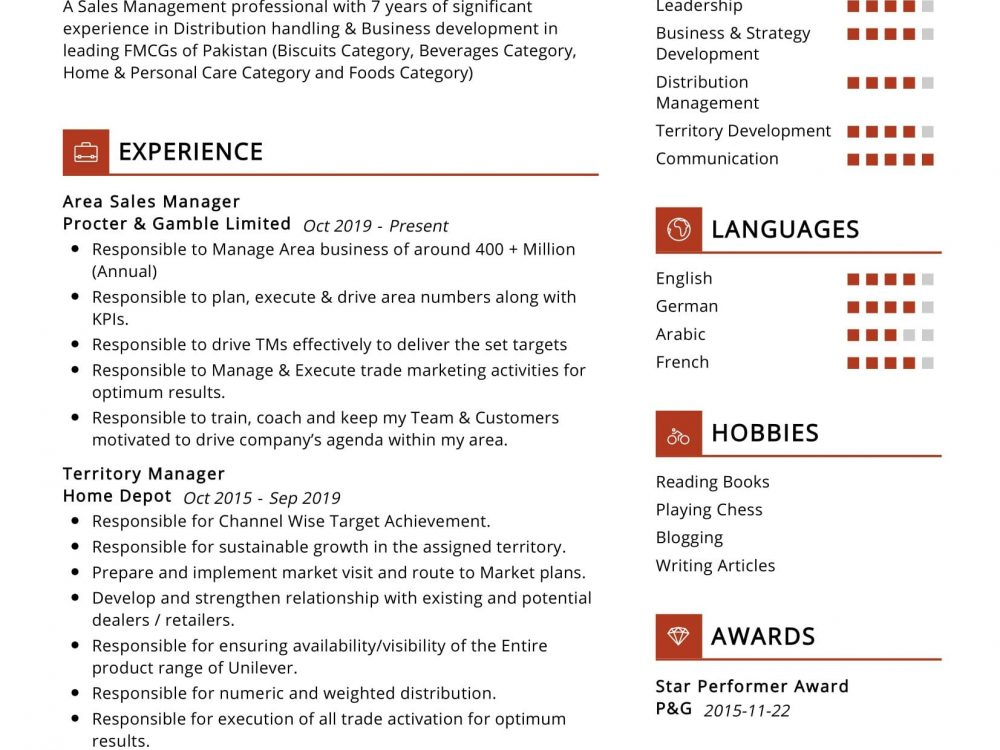 Area Sales Manager Resume Sample