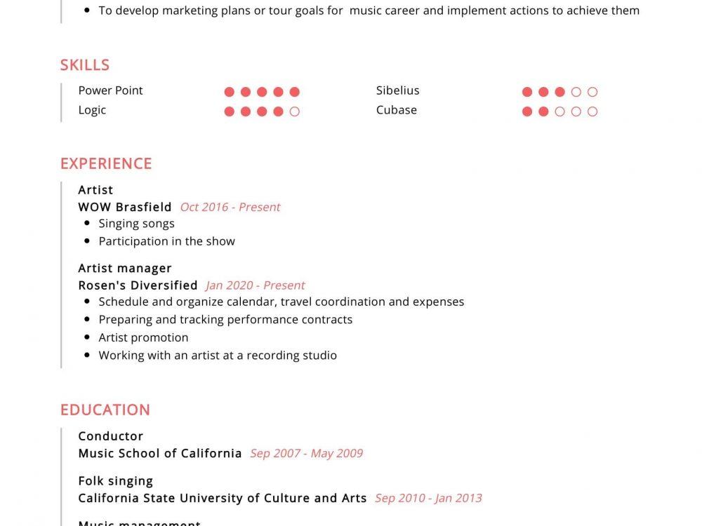 Artist Manager Resume