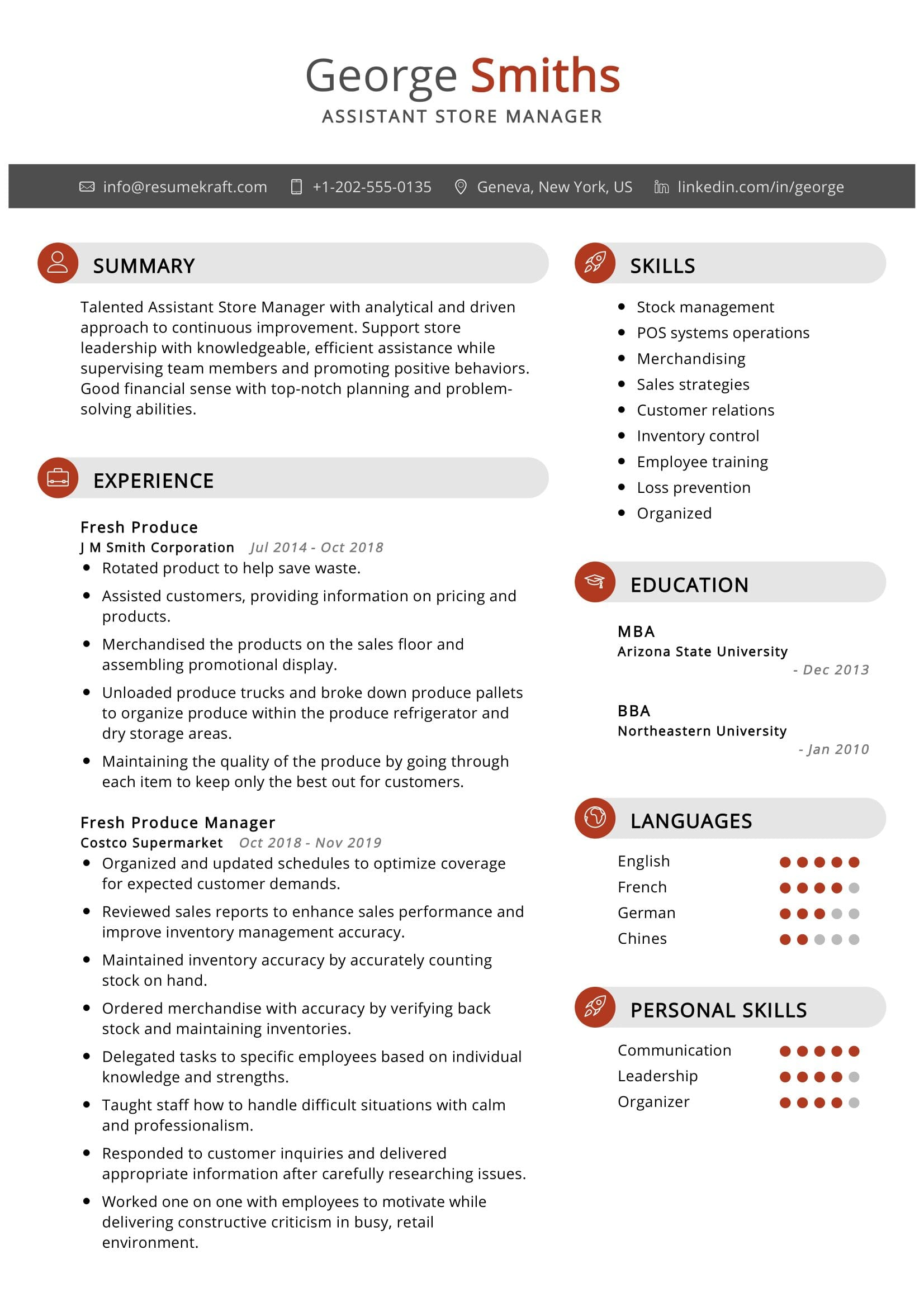 Assistant Store Manager Resume Sample
