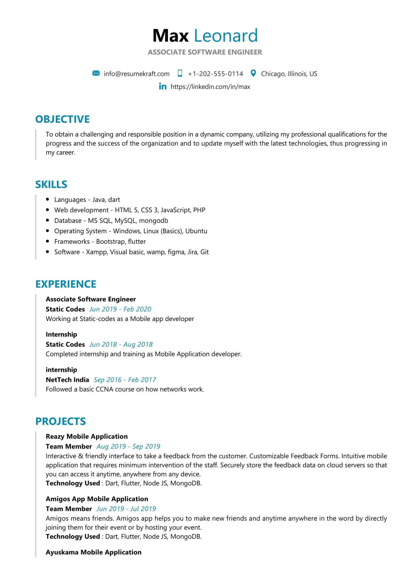 Associate Software Engineer Resume Sample Resumekraft