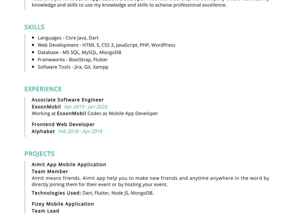 Associate Software Engineer Resume Sample