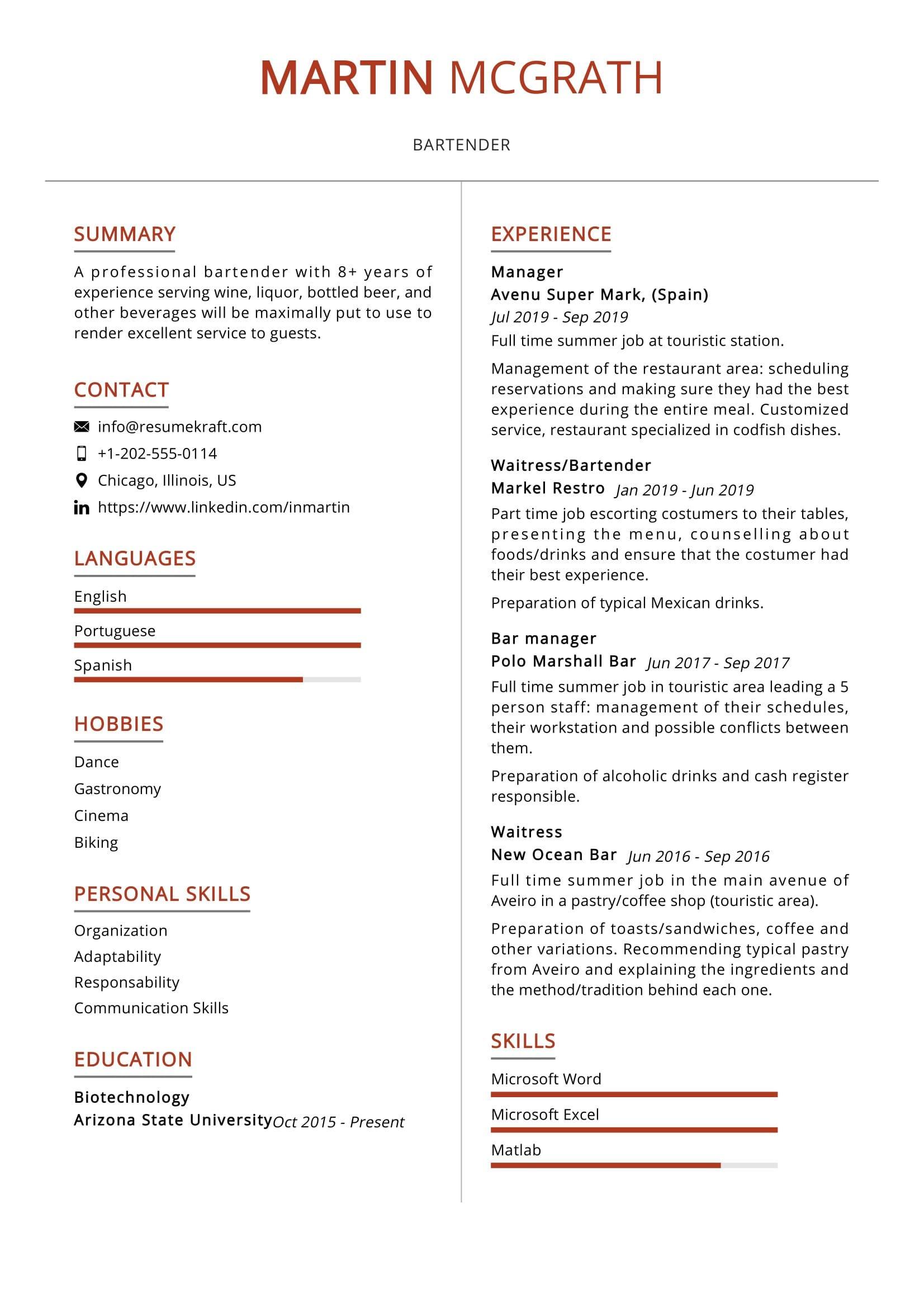 bartender resume sample 2021  resumekraft